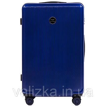 Большой чемодан из поликарбоната премиум серии W-565 на 4х двойных колесах с ТСА замком темно-синий, фото 2