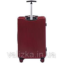 Большой чемодан из поликарбоната премиум серии W-565 на 4х двойных колесах с ТСА замком бордовый, фото 2