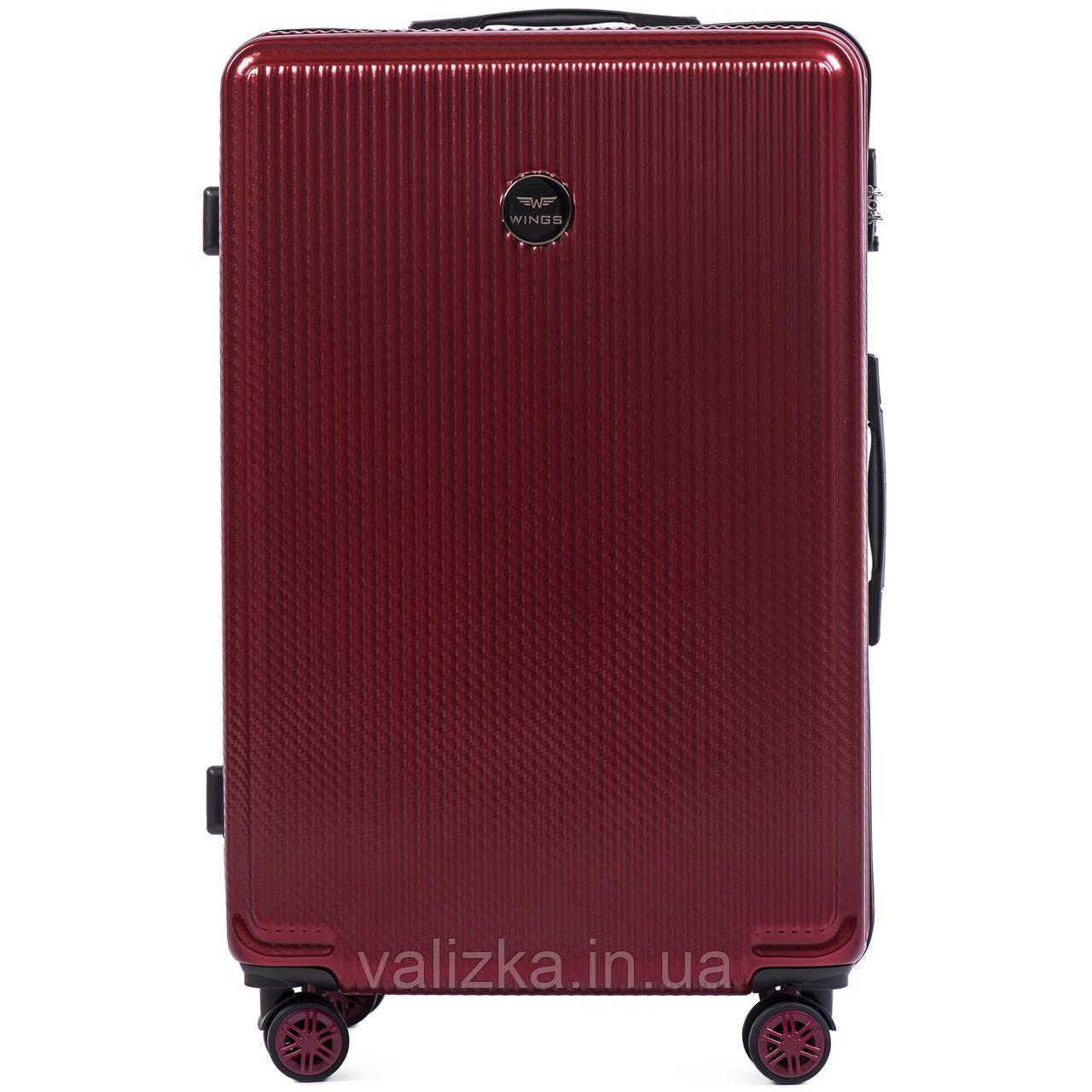 Большой чемодан из поликарбоната премиум серии W-565 на 4х двойных колесах с ТСА замком бордовый