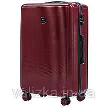 Большой чемодан из поликарбоната премиум серии W-565 на 4х двойных колесах с ТСА замком бордовый, фото 3