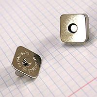 Кнопка магнит квадрат 19 мм никель для сумок a4269 (20 шт.)