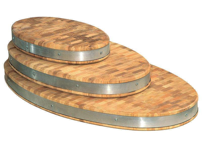 Доска разделочная торцевая овальная с металлическим ободом