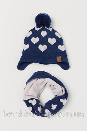Теплый комплект в сердечки, шапка и снуд для девочек 1,5 - 4 лет, р. 92 - 104, H&M