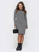 Вязаное теплое платье черное+белый 42-44 46-48 50-52