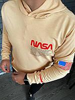 Худи мужское толстовка свитшот с капюшоном весенний осенний бежевая NASA