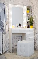 Стол гримерный с зеркалом, тумбой и подсветкой СВ-9