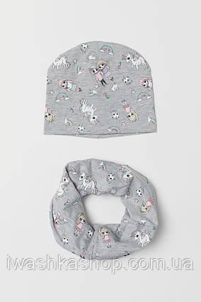 Брендовый демисезонный комплект, шапка и снуд с единорогами на девочку 1,5 - 4 года, 92 - 104 р., H&M
