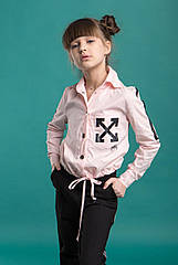 Блузка модная для девочек Off-White ТМ Madlen Размеры 134-164