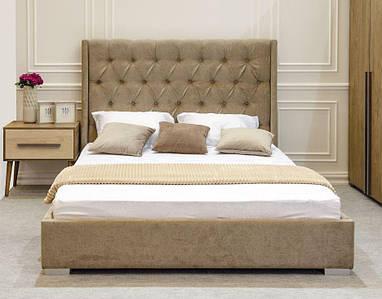 Кровать двуспальная Пудра (Embawoo) 160х200, 1 Виларт-Р Артекс, велюр El Dorado - Nut, + подъемный механизм