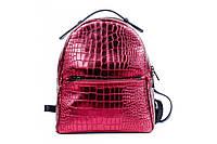 Женский рюкзак из натуральной кожи. Цвет: Бордовый перламутр