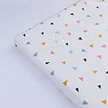 """Сатин ткань """"Разносторонние треугольники"""" терракотовые, горчичные, серые на белом фоне № 2629с, фото 5"""