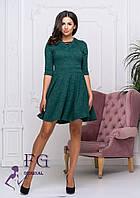Демисезонное теплое платье до середины бедра по фигуре темно-зеленое