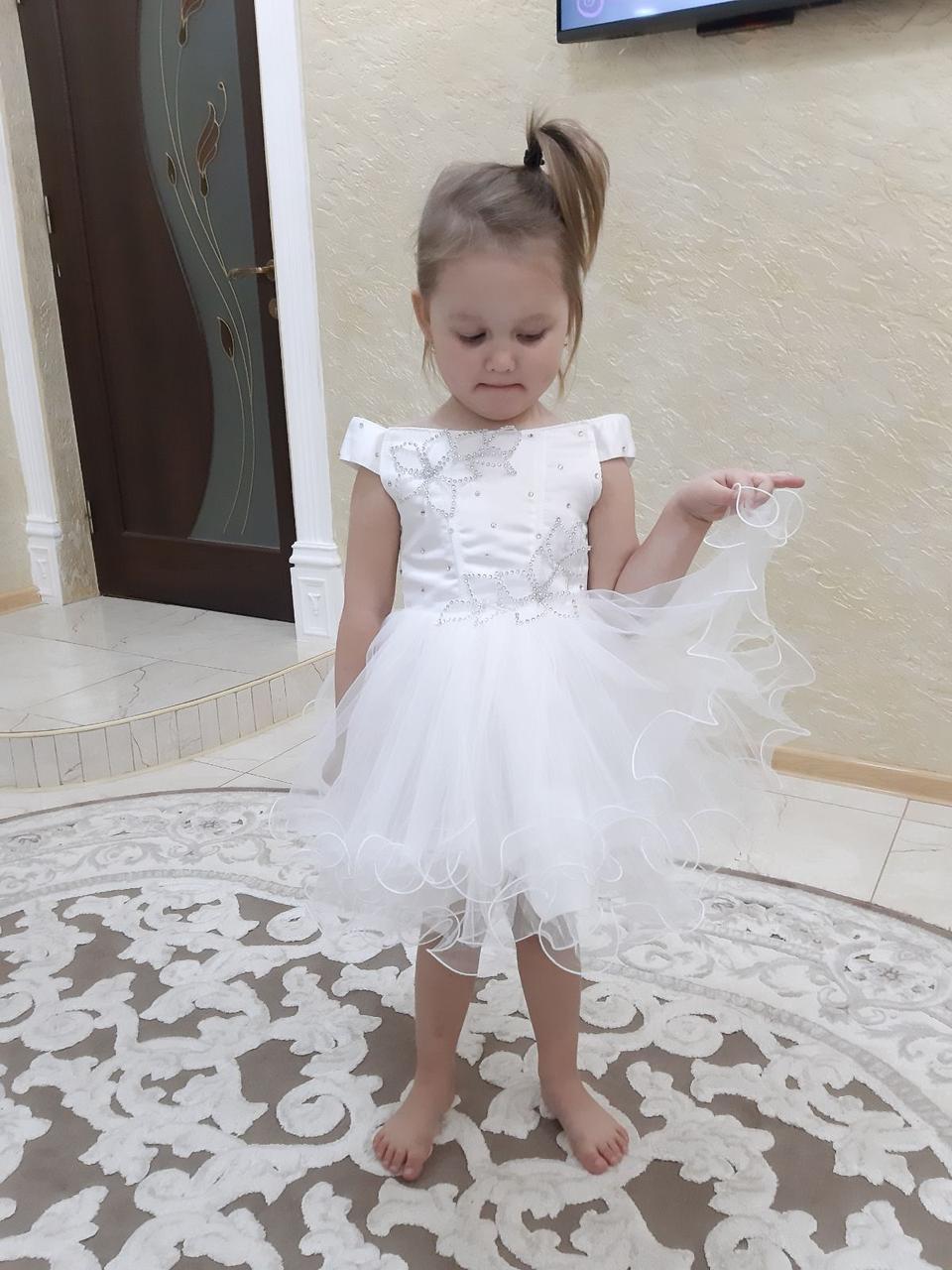 """Детское Белое коктельное платье """"Милашка"""""""