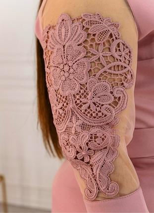 Пудровое платье рукав сетка большого размера Minova Фабрика моды Размеры: 50, фото 2