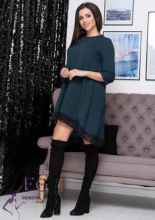 Красивое свободное платье а-силуэта с кружевом темно-зеленое, фото 2