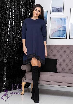 Стильное платье асимметрия свободного кроя с кружевами рукав три четверти темно-синее, фото 2
