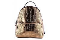 Женский рюкзак из натуральной кожи. Цвет: Золотой, фото 1