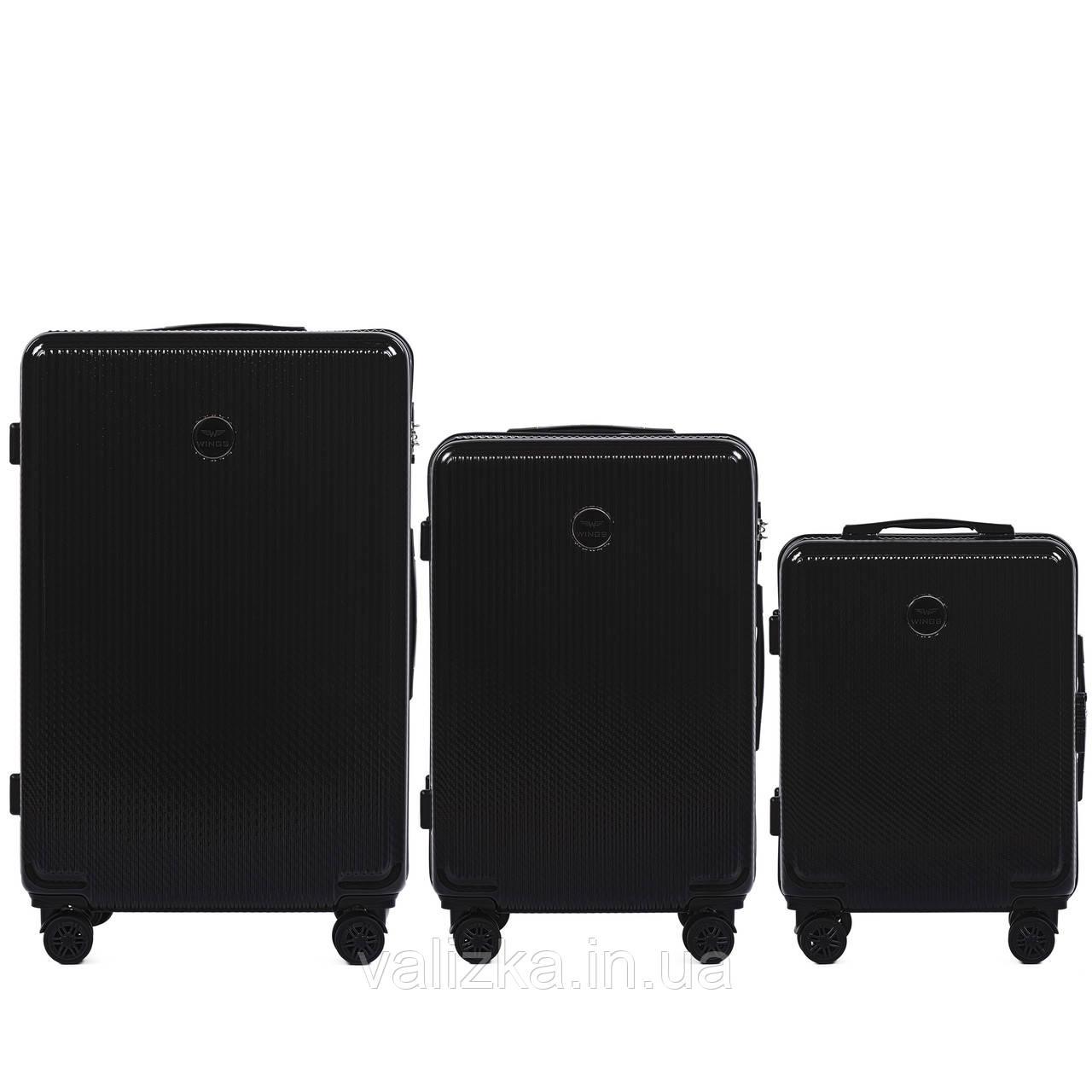Комплект чемоданов из поликарбоната премиум серии W-563 штуки малый для ручной клади, средний и большой черный