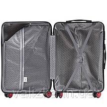 Комплект чемоданов из поликарбоната премиум серии W-563 штуки малый для ручной клади, средний и большой черный, фото 3