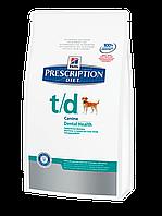 Корм для собак Hills PD Canine T/D 3 кг хиллс для устранения зубного налета, пятен и камней на зубах