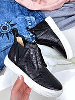 Женские ботинки хайтопы черные натуральная кожа код 26362, фото 1