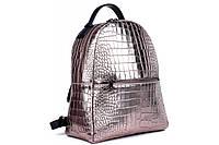 Женский рюкзак из натуральной кожи. Цвет: Бронзовый перламутр, фото 1