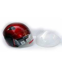 Шлем для скутера DVKmoto -55 красный, размер S   дополнительное стекло антискраб