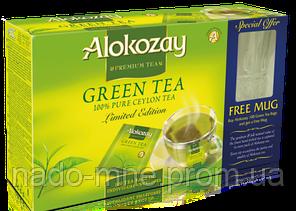 Чайний набір Alokozay Green Tea bags 100*2g у пакетиках - набір чай Алокозай пакетований 100*2 р + чашка