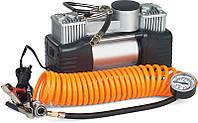 Миникомпрессор автомобильный двухпоршневой, 12В, 12бар, 60л/мин, набор адаптеров (3шт)