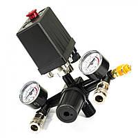 Пресостат 220В в зборі (редуктор, 2 манометра, запобіжний клапан, два виходи швидкороз'єми)