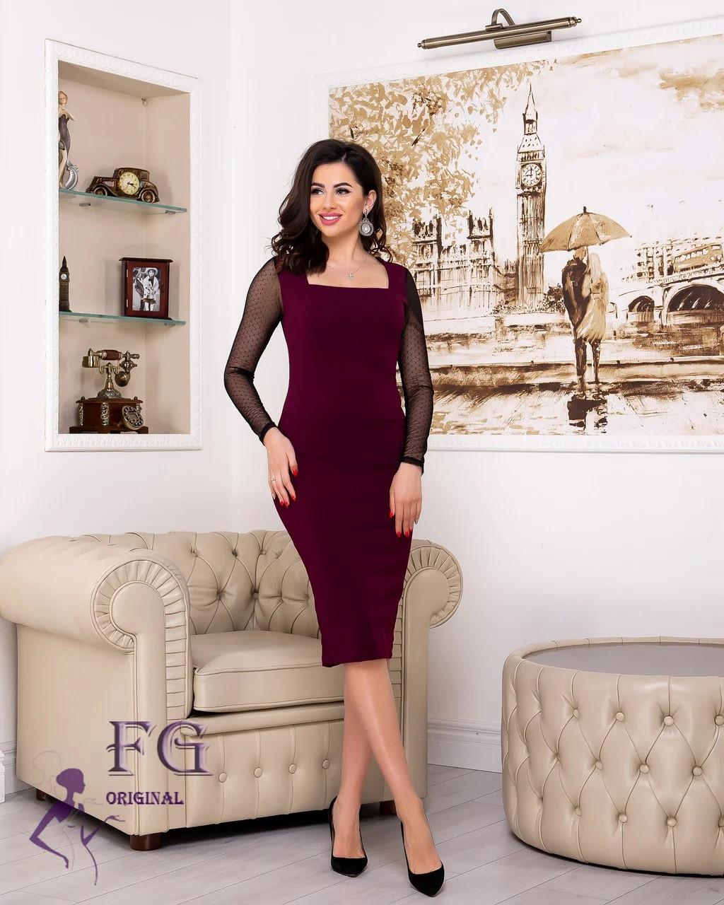 Элегантное платье миди приталенное с длинным прозрачным рукавом марсала