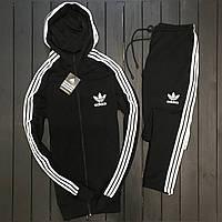 Спортивный костюм мужской Adidas black-white с лампасами / весенний осенний ЛЮКС