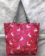 Женская тканевая пляжная сумка (коттоновая) с принтом