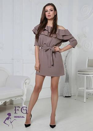 Модное платье мини с поясом в тон рукав три четверти мокко, фото 2