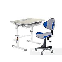 Комплект растущая парта Lavoro L Grey+ детский стул для школьника LST3 Blue-Grey FunDesk