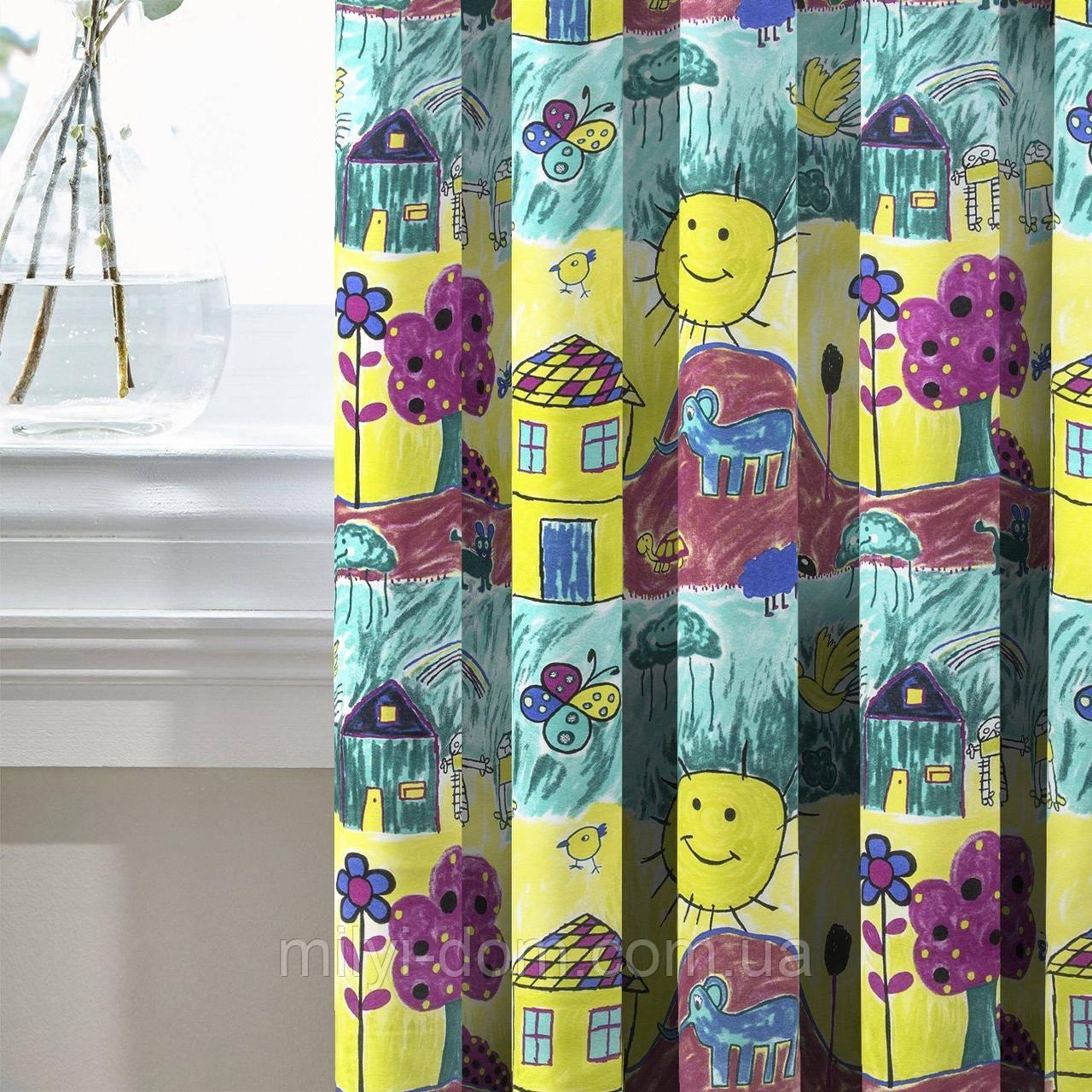 Комплект Декоративних Штор в дитячу Іспанія Дитячі малюнки, арт. MG-131288, 275*200 см