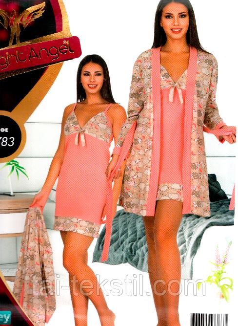 Комплект халат и ночная рубашка качество лайкра Night Angel №7783