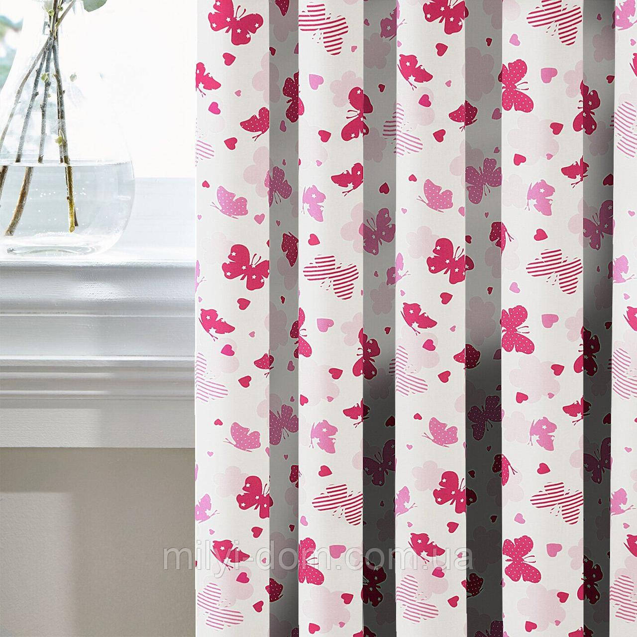 Штори в Дитячу кімнату MacroHorizon Рожеві Метелики (MG-DET-160968), 270*135 см