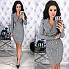 Женское облегающее платье-пиджак с красивым декольте  С-М, Л-ХЛ, фото 9