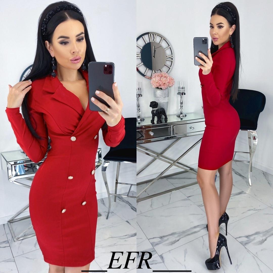Женское облегающее платье-пиджак с красивым декольте  С-М, Л-ХЛ