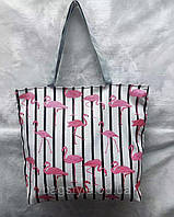 Пляжная сумка шоппер тканевая с фламинго