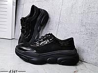 Стильные кроссовки из натуральной кожи и замша 36-40 р гчёрный, фото 1