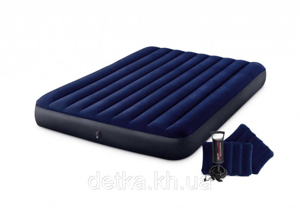 Матрас велюровый Intex 64765с подушками и ручным насосом 203*152*25см
