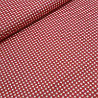 Ткань декоративная с тефлоновом пропиткой в мелкую красную клетку 5 мм, ширина 180 см