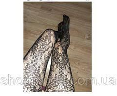 Эротические колготки ажурные с рисунком черные., фото 2