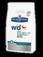 Корм для собак Hills PD Canine W/D 12 кг хиллс при заболевании сахарным диабетом, колитах, для снижения веса