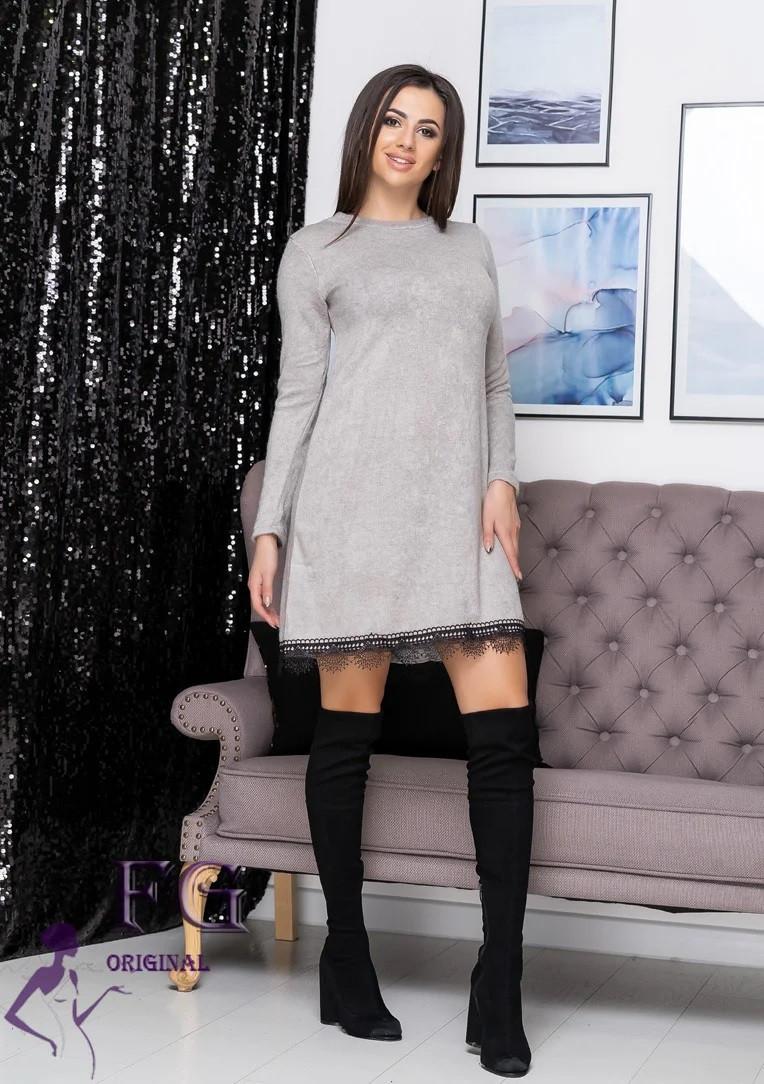 Красивое платье с кружевом миди длинный рукав серый