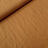 Льон з ефектом пом'ятості кольору кориця, ширина 150 см, фото 1