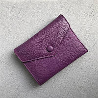 Мини кошелек клапан конверт, застежка на кнопке + отдел для мелочи / натуральная кожа (10245) Фиолетовый