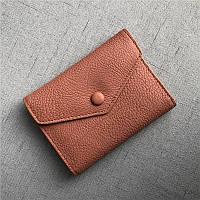 Мини кошелек клапан конверт, застежка на кнопке + отдел для мелочи / натуральная кожа (10245) Розовый